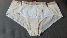 M&S 2 Pairs 'Embroidery Collection' Brazilian Style Briefs 22 Nude Mix BNWT
