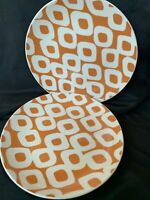 "2 Pottery Barn Graphic Harvest Orange Salad Dessert Plates 8 1/4"" Wide"