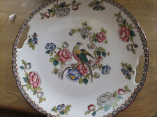 VICTORIA AUSTRIA PORCELAIN CAKE SERVING PLATE WITH BIRD OF PARADISE AND FLOWERS