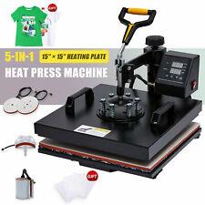 5 In 1 Heat Press Machine W 15x15in Heat Pad 360 Swivel For T Shirts Mugs More