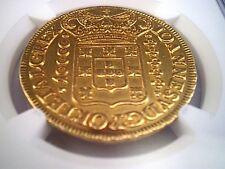 1725 BRAZIL PORTUGAL 10000 REIS 8 ESCUDOS DOLLARS PESOS GOLD COIN 27 Grs.