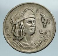 1950 MEXICO City AZTEC KING Cuauhtémoc Silver 50 Centavos Mexican Coin i84176