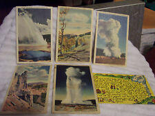 6 VINTAGE  LINEN POSTCARDS MOST UNUSED YELLOWSTONE NATIONAL PARK