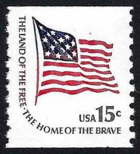 15c Fort McHenry Flag Coil Extra Red Stripe Error Freak Oddity Stamp MINT #1618C