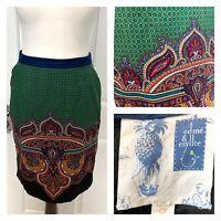 Anthropologie Edme & Esyllte Cotton Green Paisley Print Skirt Pockets UK 10 US 6