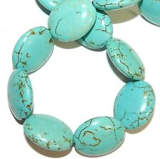 NG2972 Blue-Green Turquoise 24mm Puffed Flat Oval Magnesite Gemstone Bead 15""