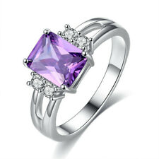 Purple Amethyst CZ Engagement Ring 10KT White Gold Filled Wedding Band Size 10