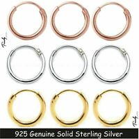 Women Men 18K Filled Over 925 Sterling Silver Hinged Hoop Sleeper Earring
