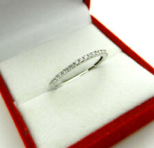 Diamond Anniversary Wedding Band Thin Stackable Ring 14k White Gold