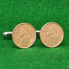 Norwegian Squirrel Bronze Coin Cufflinks, 1 ore Norway Norge