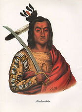 VINTAGE PRINT of 1830's NATIVE AMERICAN INDIAN MOUKAUSHKA TREMBLING EARTH SIOUX