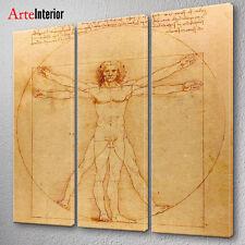 QUADRO TRITTICO Leonardo da Vinci UOMO VITRUVIANO ARTE MODERNA IDEA REGALO CASA