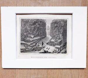 Vestena - Basaltgruppe - Pequeño Grabado de Acero, Aprox. 1845 ,Buen Obtiene