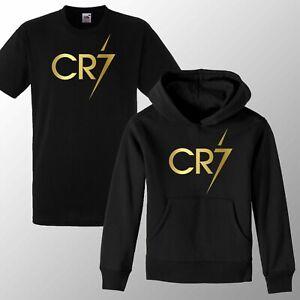 CR7 HOODIE T shirt ronaldo soccer gift kids Gold Print football cristiano Hoody