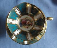 PARAGON Deep Green & Gold with fruit design Cup & Saucer Made in England