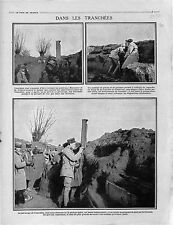 Poilus Tranchées Général Maunoury & de Villaret Périscope France / 1915 WWI