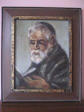 Original Framed Oil on Canvas Painting Portrait of Rabbi Signed Judaica