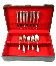 VTG 1940's Wm Rogers Overlaid IS Silver Plated Flatware With Wood Storage Box
