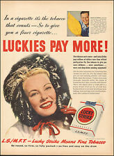 1950 Vintage ad for Lucky Strike Tobacco Red Gloves Retro Package  062817)