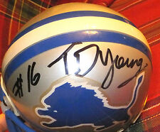 TITUS YOUNG Lions Autographed Mini Helmet including BDS COA #2099