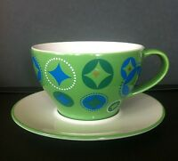 Collectible 2006 Starbucks Holiday Christmas Stocking Cup & Saucer Green/White