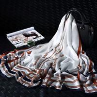 "71*26"" 100% Pure Silk Long Scarf Fashion Nature Real Silk Shawl Line Pattern"