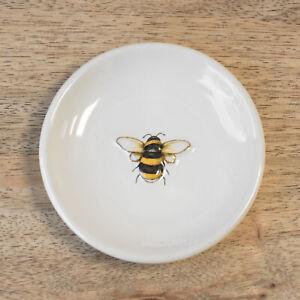 9.2cm Bumble Bee Happy Round Ceramic Tea Bag Tidy Holder Teabag Spoon Rest