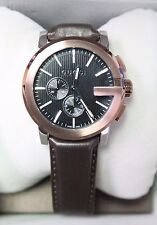 Gucci Swiss Watch G-Chrono Black Rose Gold Brown Leather YA101202 NEW! 32727