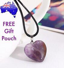 Purple Amethyst Quartz Natural Crystal Love Heart Pendant Choker Necklace Gift
