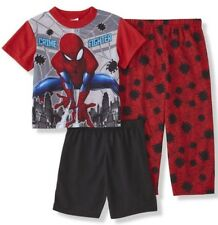 SPIDERMAN Pajamas Boy's size 8 NeW 3 piece Shirt Shorts Pants Pjs Set NWT