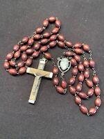 Rosary Olive Wood Bead Marked Italy Crucifix  Catholic 59 Beads Vintage