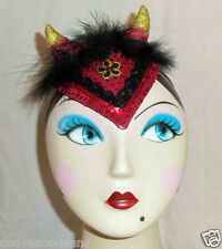 Little Devil Red Glitter and Sequin Glamour Hat w Black Marabou and Gold Horns