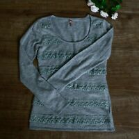 Sweewe Paris Fitted Cashmere Blend Pull Over Grey Jumper Size M/S Long Sleeve