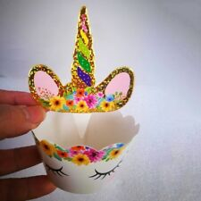 24pcs/set Rainbow Unicorn Cupcake Wrapper Cake Topper Kids Birthday Cake Decor