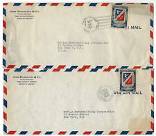 Dominican Republic - 6 Vintage AIR MAIL hand stamped envelops post dated 1946