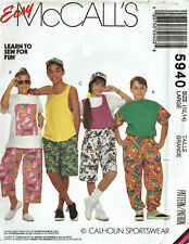 McCALL'S 5940 ~ LEARN TO SEW *EASY* UNISEX PANTS, TSHIRTS, TANK TOP - Sz 12 & 14