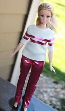 Clothes for Curvy Barbie Doll. T-shirt and Pink Metallic Leggings for Dolls.