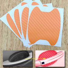 4x Orange Carbon Fiber Car Door Handle Anti-Scratch Protective Film Stickers Set