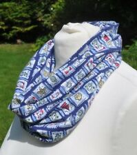 Snnod/cowl in Laura Ashley cotton jersey blue white green red seaside theme