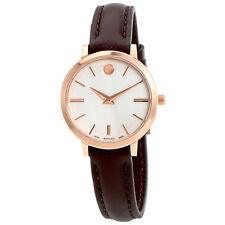 Movado Ultra Slim Silver Dial Ladies Leather Watch 0607096