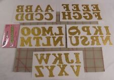 6 packs 40 shimmery glittery iron-on letters appliques Glitterz Wright's Gold