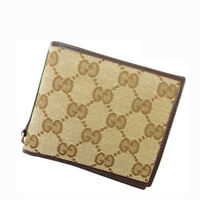 Gucci Wallet Purse Bifold GG Brown Beige Woman Authentic Used Y1733