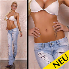 NEU 🌸 Sexy Bleached Denim Low Cut Jeans Destroyed LILA Satin STRASS 🌸 34