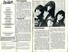 1980 Ramones Rattlers Joe Jackson Yachts Concert Program Asbury Park NJ