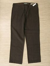 Old Navy Brown Khaki Pants Men's Size 36x34 Flat Front Zipper Fly Casual Trouser