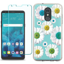 TPU Phone Case for LG Stylo 5 w/ Tempered Glass - Daisy/Teal
