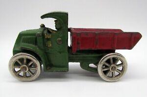 Vintage 1930's Hubley Cast Iron Mack Dump Truck Nickel Wheels - Original