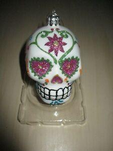 SUGAR SKULL GLASS ORNAMENT Kurt  Adler White DAY OF THE DEAD Dia De Los Muertos