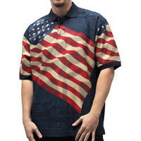 Patriotic Polo Shirt American Flag Eagle Declaration of Independence in Navy