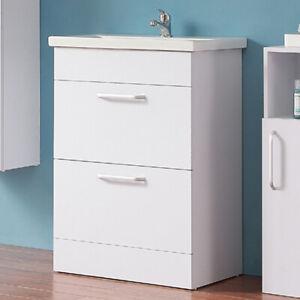 Badmöbel Set 60cm Waschbecken mit Unterschrank Freistehend Waschtisch Weiss